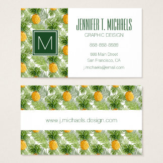 Tropical Palm Leaves & Pineapples | Add Your Name Business Card