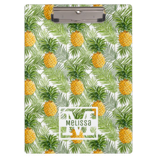 Tropical Palm Leaves & Pineapples | Add Your Name Clipboards
