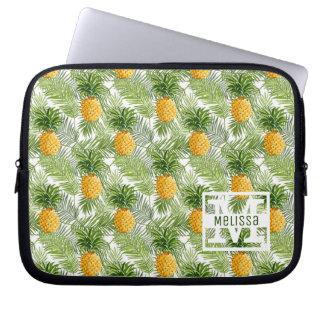 Tropical Palm Leaves & Pineapples | Add Your Name Computer Sleeve