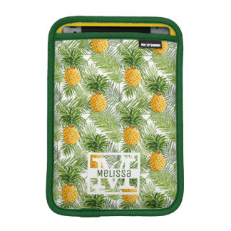 Tropical Palm Leaves & Pineapples | Add Your Name iPad Mini Sleeve