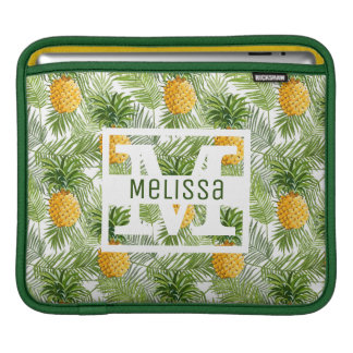 Tropical Palm Leaves & Pineapples | Add Your Name iPad Sleeve