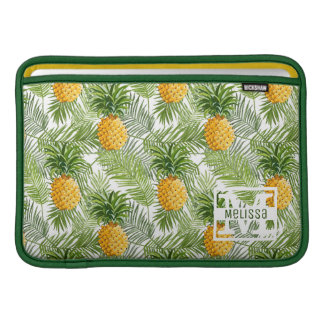 Tropical Palm Leaves & Pineapples | Add Your Name MacBook Air Sleeve
