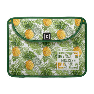 Tropical Palm Leaves & Pineapples | Add Your Name MacBook Pro Sleeve