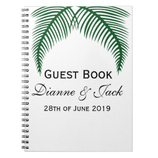 Tropical Palm Leaves Wedding Guest Spiral Note Book