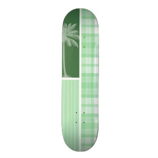 Tropical Palm Light Green Plaid Custom Skateboard