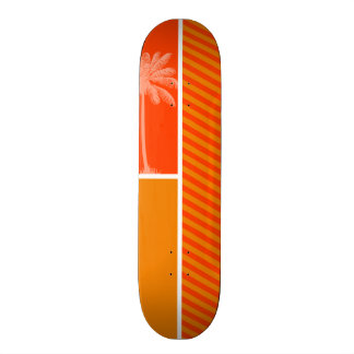 Tropical Palm; Orange Stripes 20.6 Cm Skateboard Deck