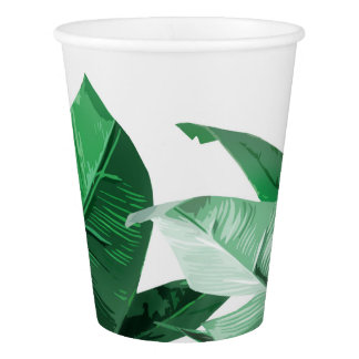 Tropical Palm Print Leaves Paper Cups