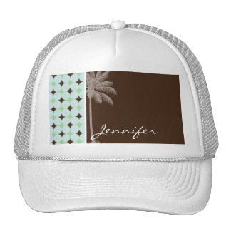 Tropical Palm; Sage Green & Brown Hats