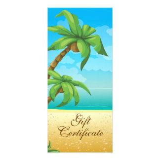 Tropical Palm Tree And Beach Gift Certificate Rack Card Design