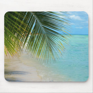 Tropical palm tree and ocean on beach mouse pad