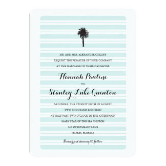 Tropical Palm Tree and Stripes | Wedding Card