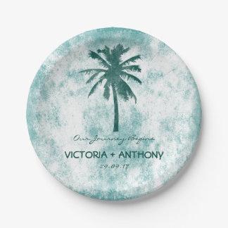 Tropical Palm Tree Beach Wedding 7 Inch Paper Plate