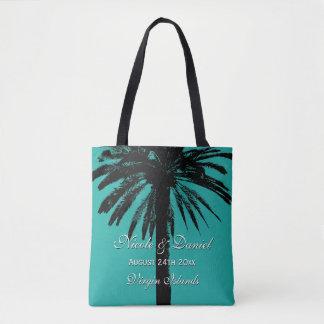 Tropical palm tree beach wedding destination bride tote bag