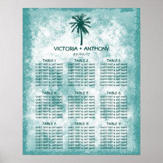 Tropical Palm Tree Beach Wedding Seating Chart