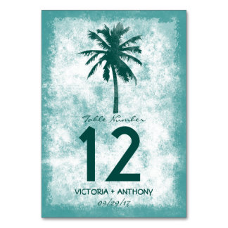 Tropical Palm Tree Beach Wedding Table Number