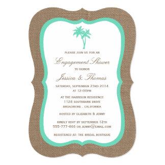 Tropical Palm Tree Burlap Beach Engagement Shower 13 Cm X 18 Cm Invitation Card