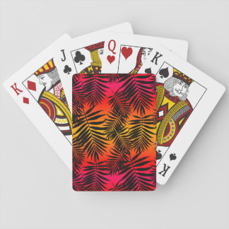 Tropical Palm Tree Leaf Shadow On Sunset Playing Cards