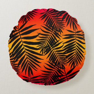 Tropical Palm Tree Leaf Shadow On Sunset Round Cushion