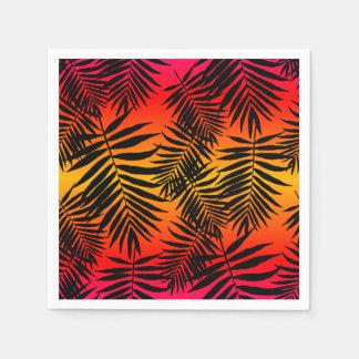 Tropical Palm Tree Leaf Shadow On Sunset Summer Paper Napkin