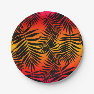 Tropical Palm Tree Leaf Shadow On Sunset Summer Paper Plate