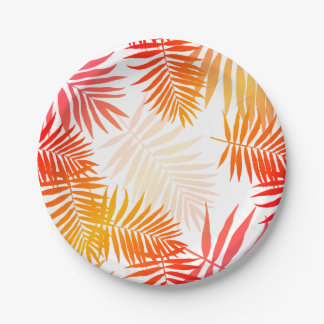 Tropical Palm Tree Leaf Summer Sunset Paper Plate