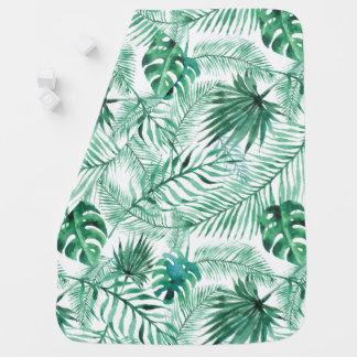 Tropical Palm Tree Leaves Pattern Baby Blanket