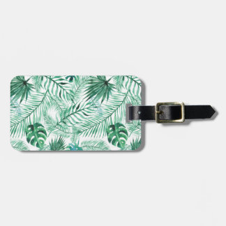 Tropical Palm Tree Leaves Pattern Luggage Tag