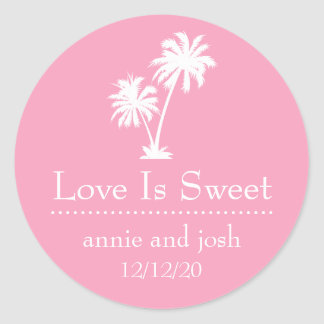 Tropical Palm Tree Love Is Sweet Labels (Pink) Round Sticker