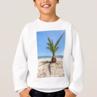 Tropical palm tree on sandy beach sweatshirt