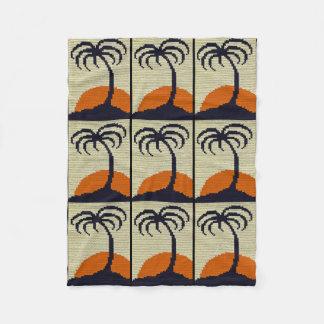 Tropical Palm Tree Orange Sunset Crochet Print on Fleece Blanket