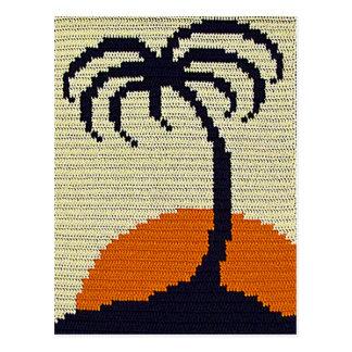 Tropical Palm Tree Orange Sunset Crochet Print on Postcard