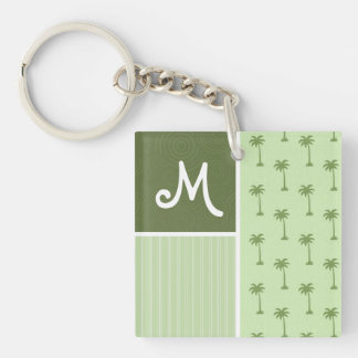 Tropical Palm Tree Pattern Double-Sided Square Acrylic Key Ring