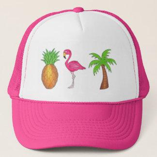 Tropical Palm Tree Pineapple Pink Flamingo Bird Trucker Hat