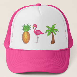 Tropical Palm Tree Pineapple Pink Flamingo Hat
