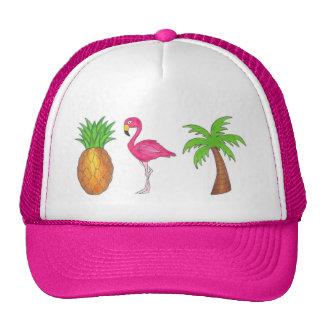 Tropical Palm Tree Pineapple Pink Flamingo Hat