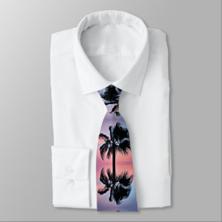 Tropical Palm Tree Reflections at Sunset Tie