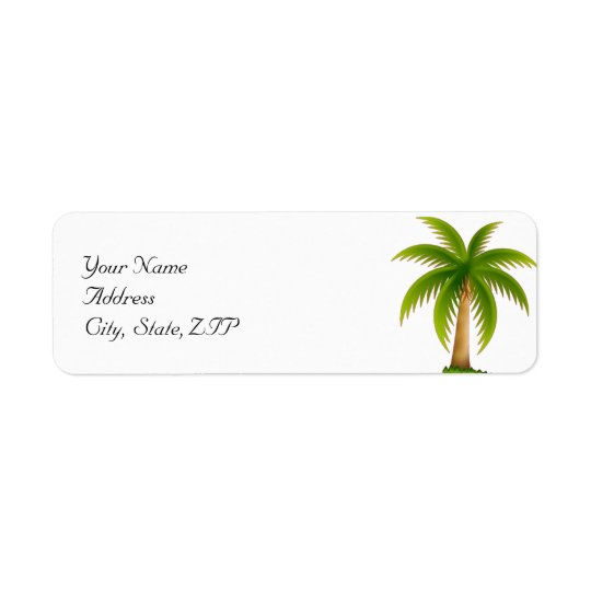 Tropical Palm Tree Return Address Label