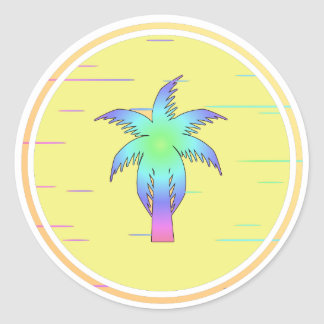Tropical palm tree round sticker