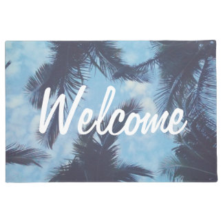 Tropical Palm Tree Silhouette Welcome Door Mat