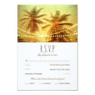 Tropical Palm Tree String light Beach Wedding RSVP Card