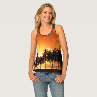 Tropical Palm Tree Sunset Tank Top