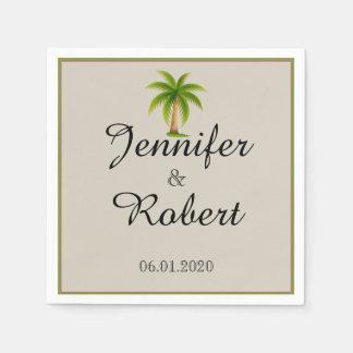 Tropical Palm Tree Wedding Disposable Serviette