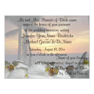 Tropical Palm Tree with orchids 17 Cm X 22 Cm Invitation Card