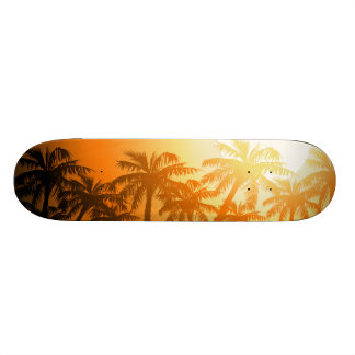 Tropical palm trees at sunset 20 cm skateboard deck