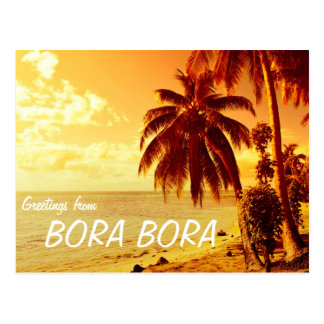 Tropical palm trees at sunset Bora Bora postcard