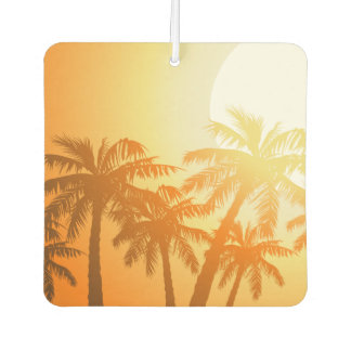 Tropical palm trees at sunset car air freshener