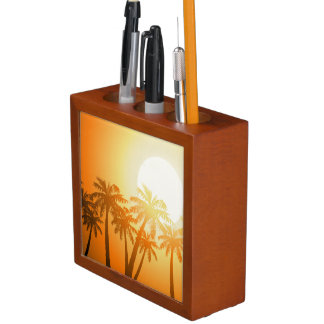 Tropical palm trees at sunset desk organiser