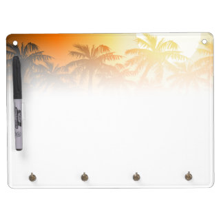 Tropical palm trees at sunset dry erase board with key ring holder