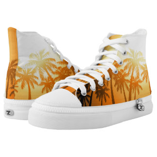 Tropical palm trees at sunset high tops