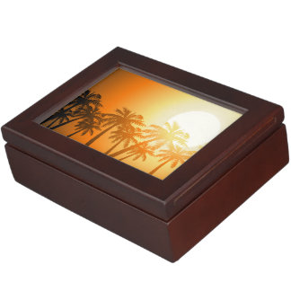 Tropical palm trees at sunset keepsake box